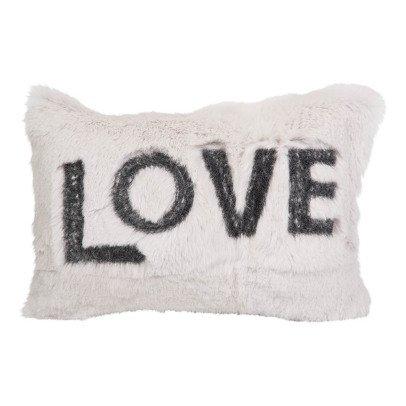 Maison de vacances Coussin Love en lapin rasé brodé Tourterelle-listing
