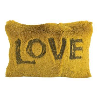 Maison de vacances Coussin Love en lapin rasé brodé Ocre-listing