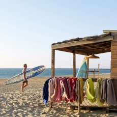 Maison de vacances Aqua Washed Linen Reversible Plaid with Fringe-listing