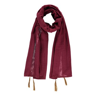 Numero 74 Foulard Pompons 55*160  - Collection Ado et Femme - Rouge framboise-product