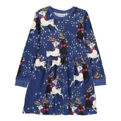 Mini Rodini Organic Cotton Reindeer Skater Dress-listing