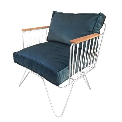 Honoré Croisette White and Peacock Blue Velvet Armchair-listing
