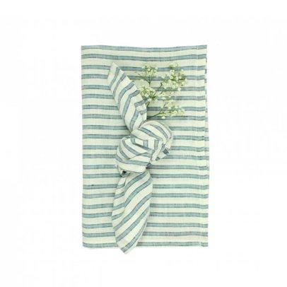 Lab Mantel y 12 servilletas en lino rayas Tricolor-listing