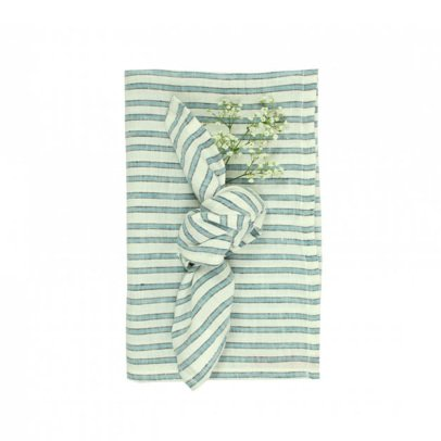 Lab Three Colour Striped Table Cloth and 12 Napkins-listing