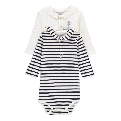 Armor Lux Brendan Striped Long Sleeve Babygrows - Set of 2-listing