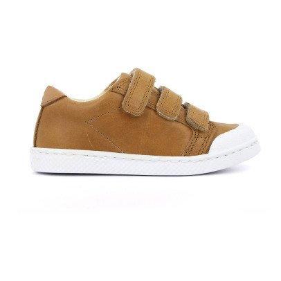 10 IS Zapatillas Cuero Bajas Velcro Camel-listing