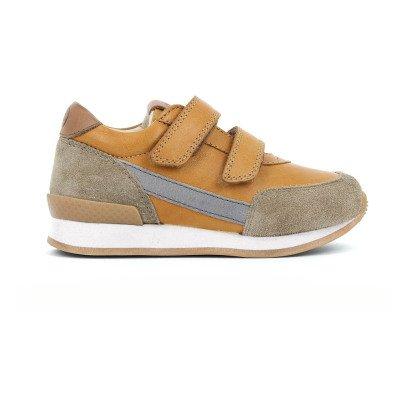 10 IS Sneakers pelle e camoscio velcro camel-listing