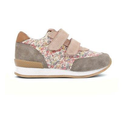 10 IS Sneakers basse fiori velcro rosa antico-listing