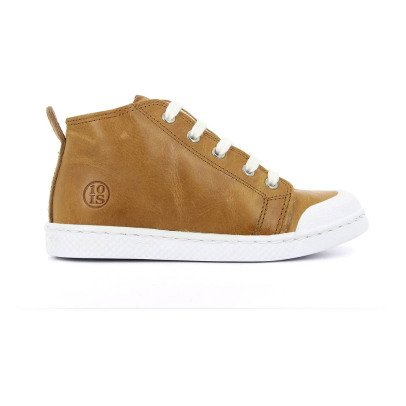 10 IS Sneakers pelle zip lacci Camel-listing