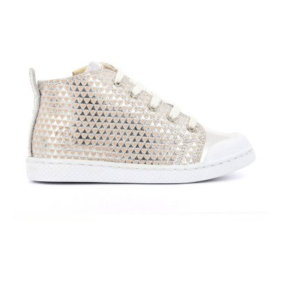 10 IS Sneakers pelle zip lacci Argento-listing