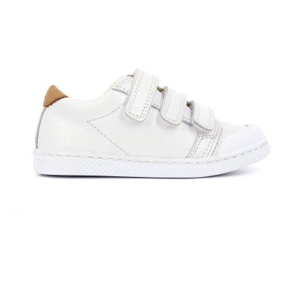 10 IS Baskets Cuir Basses à Scratchs White-listing