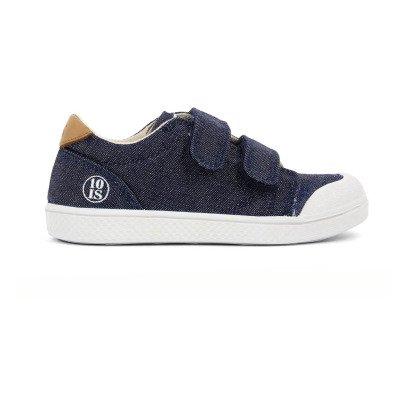 10 IS Sneakers Basse Pelle Velcro Lurex Blu-listing