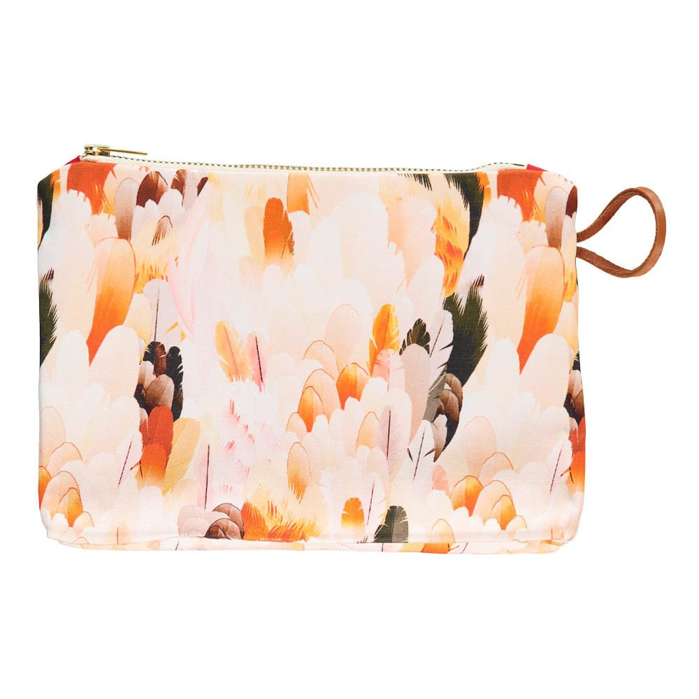 Maison Baluchon Gusset Wild Feather Zip-Up Pouch-product