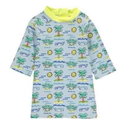 Stella McCartney Kids T-Shirt Anti-UV Tropical Splash Bleu ciel-listing