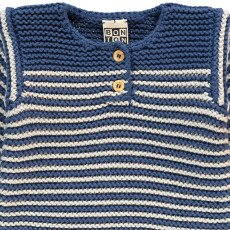 Bonton Striped Moss Stitch Jumper-product