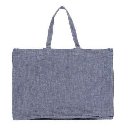 Linge Particulier Bolso gigante en lino lavado Chambray-listing