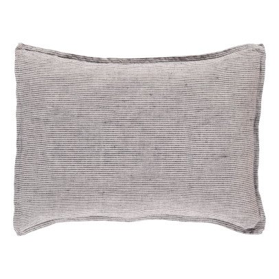 Linge Particulier Black-White Striped Washed Linen Cushion Cover-listing