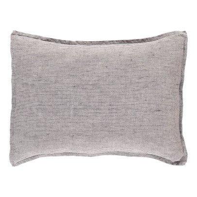 Linge Particulier Funda de cojín en lino lavado Rayas Negro - Blanco-listing