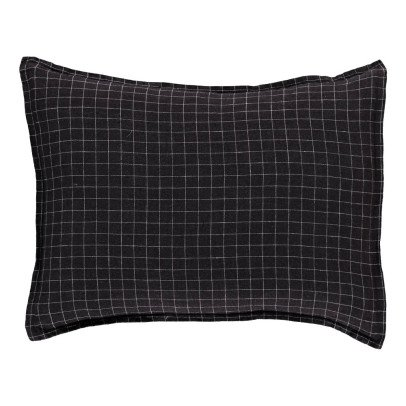 Linge Particulier Checked Washed Linen Cushion Cover-listing