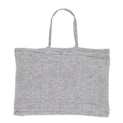 Linge Particulier Bolso en lino lavado Rayas Negro - Blanco-listing