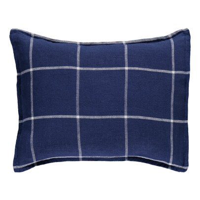 Linge Particulier Tartan Washed Linen Cushion Cover-listing
