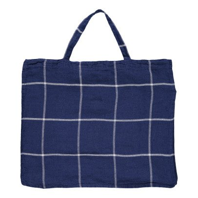 Linge Particulier Large Tartan Washed Linen Shopper-listing