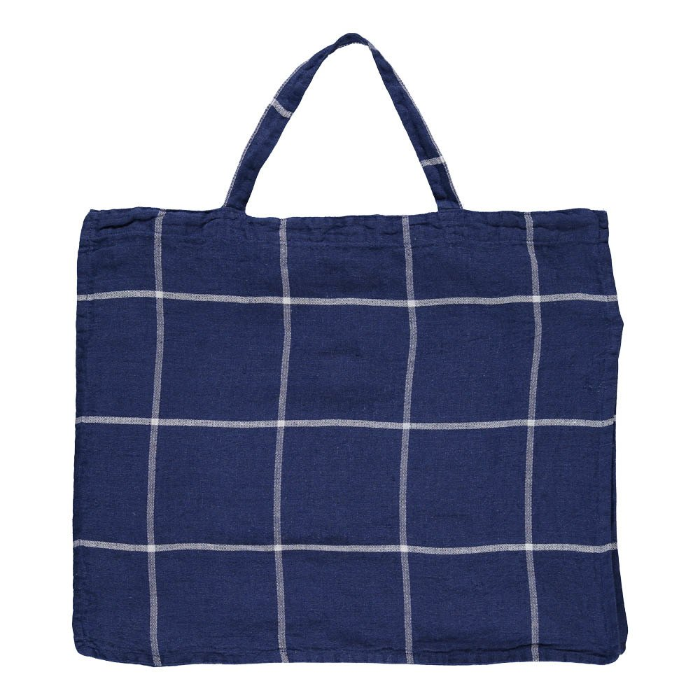Linge Particulier Large Tartan Washed Linen Shopper-product