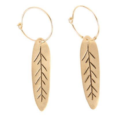 5 Octobre Clam Feather Earrings -listing