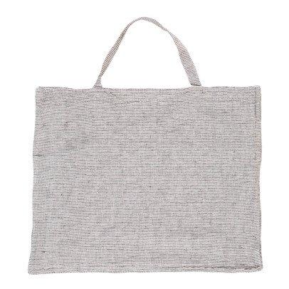 Linge Particulier Borsa lino lavato a strisce nero-bianco-listing