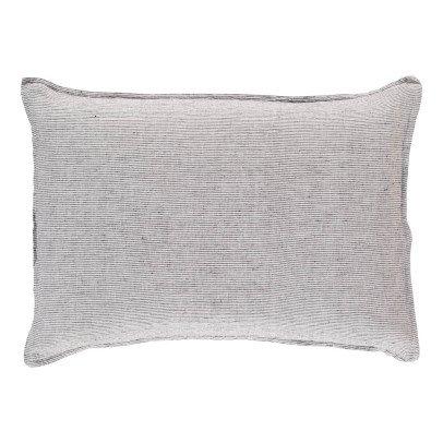 Linge Particulier Funda en lino lavado Rayas Negro - Blanco-listing