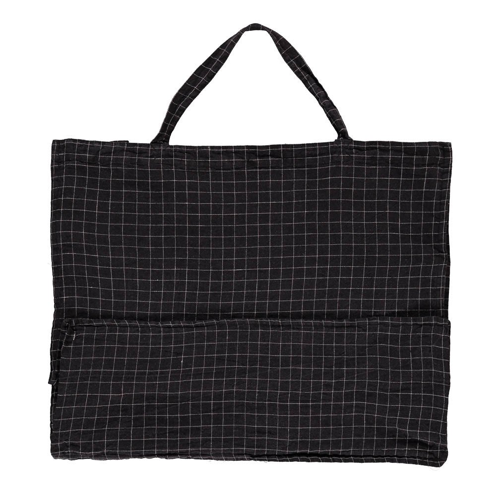 Large Checked Washed Linen Shopper-product