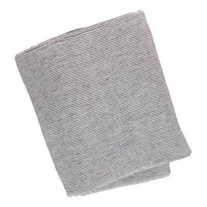 Linge Particulier Funda de edredón en lino lavado Rayas Negro - Blanco-listing