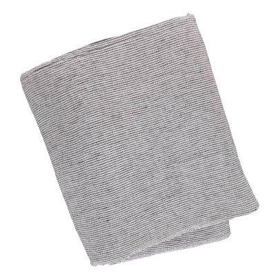 Linge Particulier Housse de couette en lin lavé Rayé Noir-Blanc-listing