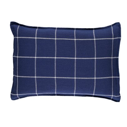 Linge Particulier Tartan Washed Linen Pillowcase-listing