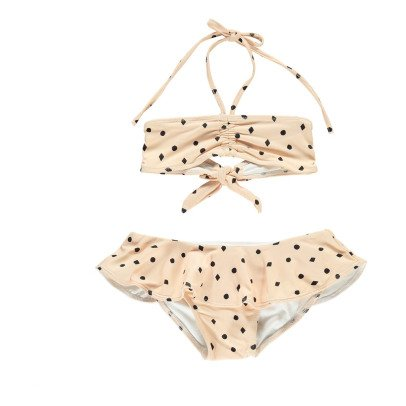 Rylee + Cru Diamond  Polka Dot 2 Piece Bandeau Swimsuit Powder pink-listing