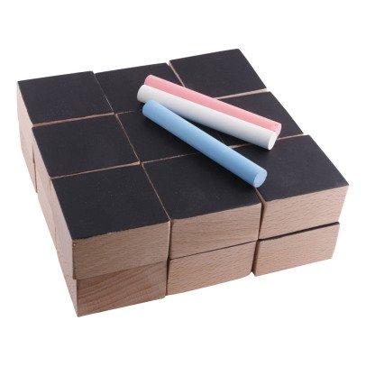 Paulette et Sacha Cubes en bois et ardoise et 3 craies - Set de 18-listing
