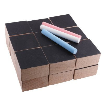 Paulette et Sacha Slate and Wood Cubes and 3 Chalks - Set of 18-listing