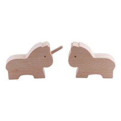 Paulette et Sacha Statuetta di legno cavallo e unicorno-listing
