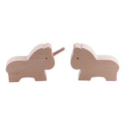Paulette et Sacha Wooden Horse and Unicorn Figurines-listing