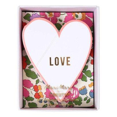 Meri Meri Cartes Cœurs et enveloppes Liberty - Set de 20-listing