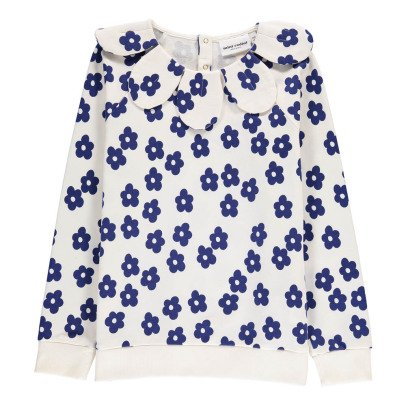 Mini Rodini Organic Cotton Flower Collar Sweatshirt-listing