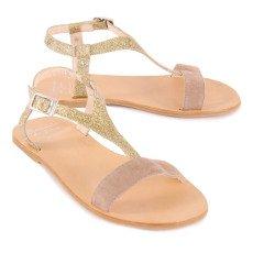 Manuela de Juan  Gold Eolios Glitter Leather and Suede Sandals-listing