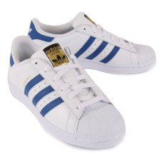 Adidas Baskets Cuir Lacets Superstar Bleu-listing