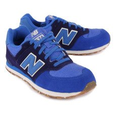 New Balance KL574 Canvas and Suede Lace-Up Trainers-listing