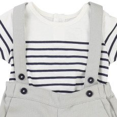 CARREMENT BEAU Dungarees + Striped T-Shirt-listing
