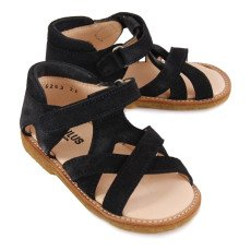 Angulus Velcro Crossed Suede Sandals-listing