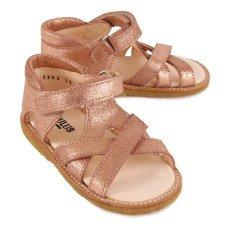 Angulus Velcro Crossed Suede Glitter Sandals-listing