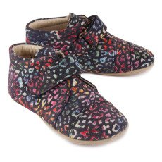 Petit Nord Leopard Leather Velcro Slippers-listing
