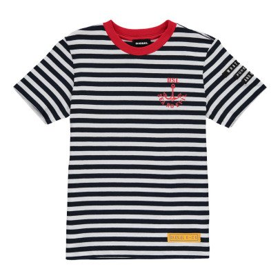 Diesel Taifa Striped T-Shirt with Red Collar-listing