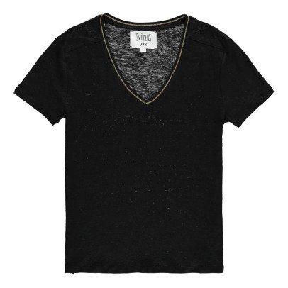 Swildens Qincy Gold Trim Linen T-Shirt-listing
